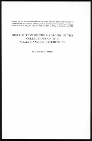 Distribution of the hydroids in the collections of the Allan Hancock Expeditions