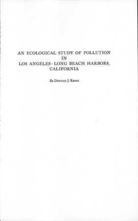An ecological study of pollution in Los Angeles-Long Beach Harbors, California