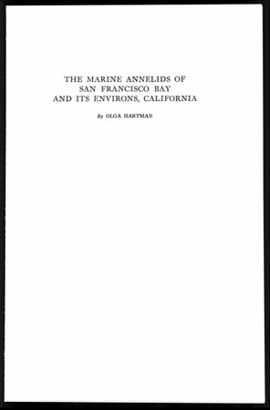 Marine annelids of San Francisco Bay and its environs, California