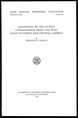 Amphipoda of the family Lysianassidae from the west coast of North and Central America