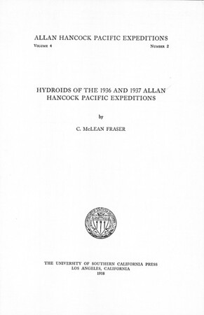 Hydroids of the 1936 and 1937 Allan Hancock Pacific Expeditions