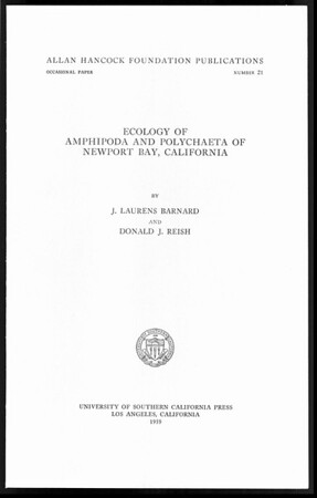 Ecology of Amphipoda and Polychaeta of Newport Bay, California