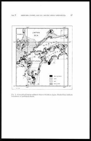 Distribution of sediments on east Asiatic continental shelf