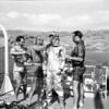 Jacques Cousteau et al. prepare to dive, Velero IV, ca. 1950