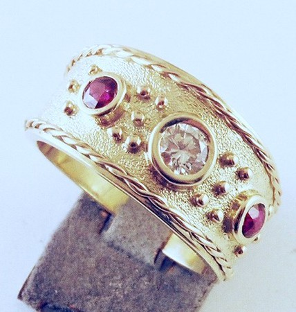 Granulation, twisted wire and bezel setting-2