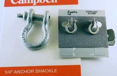 The Anchor Shackle is used for tie-downs on boats and trailers.  My client wanted earrings of the same design and provided sterling silver jewelry that I melted down and hand shaped each one to resemble the original.