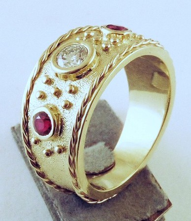 Granulation, twisted wire and bezel setting-1