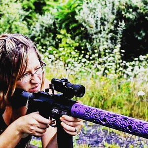 Fleur D Lis hand guard in bright purple / Photo Credit: MS Tactical