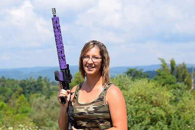 Fleur D lIs hand gaurd in Bright Purple Cerakote