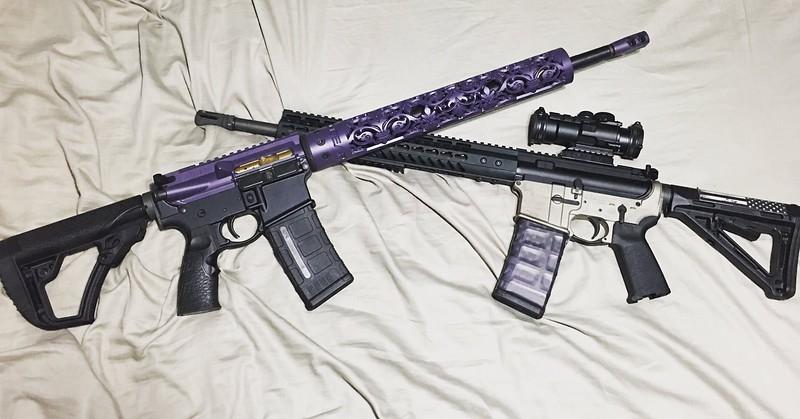 Fleur D Lis hand guard in Custom Purple