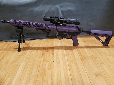 Fluer D Lis hand guard and rifle in Blackberry Pearl Cerakote