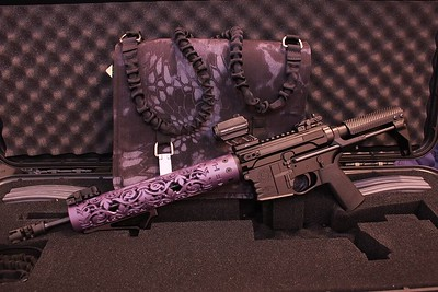 Fleur D Lis hand guard in Blackberry Pearl / Photo Credit: Girls Like Guns Too