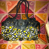 Item # 3651;  LIMITED EDITION; medium; black ylw white print fabric with black faux leather accent; PHP475