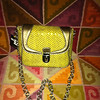 Item # 3652;  SONDRA ROBERTS; small; mustard ylw w/ gold faux leather trim with chain cross body shoulder strap; PHP525