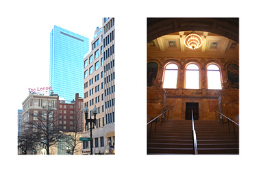 Left: Boylston Street.  Right: Boston Public Library.