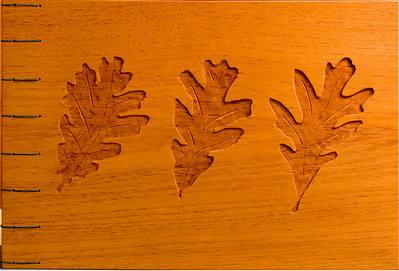 """Front cover of """"Photographs for Letter: 1888"""" book. Spanish cedar, carved and stained white oak leaves."""