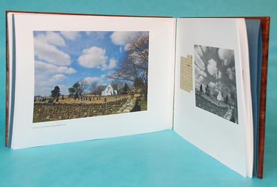 "Opened ""Letter: February 10, 1888,"" showing format of book.  Fragments of the 1888 letter are featured on the right-hand page with the black and white images from the 1st State of the book and the color  photographs are displayed on the left hand pages."