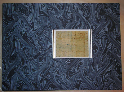 "Marbled paper front Cover for new ""Letter 1888"" book."