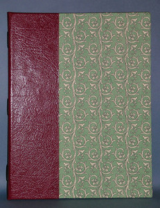 Cover of Florentine paper covered book. Type in which signatures are sewn to leather spines.