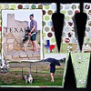The Texas sign is at the rest area on southbound I-35 as you cross from Oklahoma to Texas.  We were driving home from our trip to the 2008 OKC Summer Classic dog show.  Cowboy is just a pup, but adjusting to dog show travel quite well!  He will even potty in the rain....