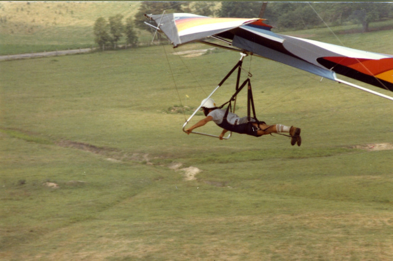 """Another west face launch.  The only problem with this site was the ever present """"cow pie"""" landing.  If you came in too fast, you were sure to skid through something rather....moist."""