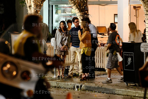Bradley Cooper,Ed helms,heather graham and jamie chung during the set of hangover 3 on Melrose in Los Angeles, California.