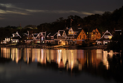 Boathouse Summer Night  Night view of Boathouse Row from pier near the waterworks.  September 7, 2013.