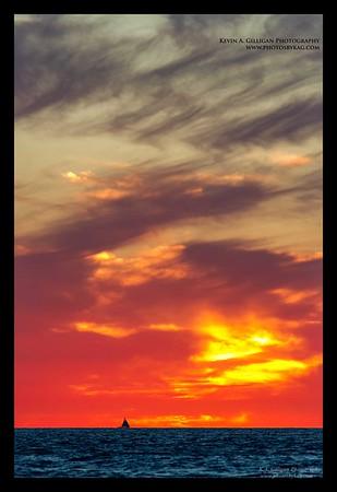 Sunset sailboat Torrance Beach