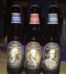 Ales of the Revoluion: Thomas Jefferson's Tavern Ale, George Washington's Tavern Porter, and Poor Richard's Tavern Spruce.  (Photo courtesy of Heather Brown)