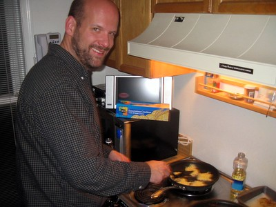 Guest latke chef Eric Payne