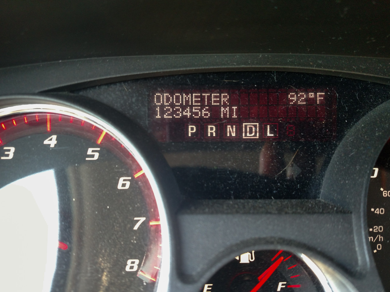This happened just west of Lincoln, NE.  When we got home it read 123,868, total trip mileage was 3,815 miles.