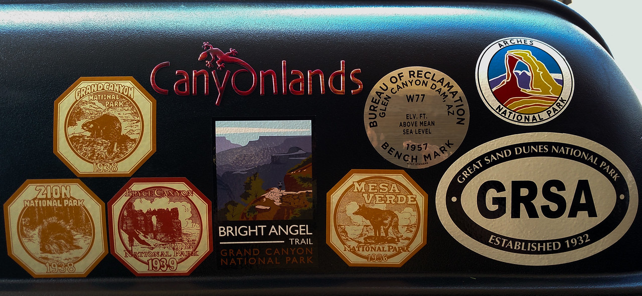 The trip's sticker collection. No, we didn't hike Bright Angel trail which is from the South Rim. But we did walk from the North Rim Lodge out to Bright Angel Point.