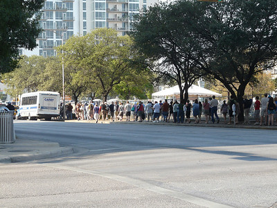 The line for the free shuttle to the Fest