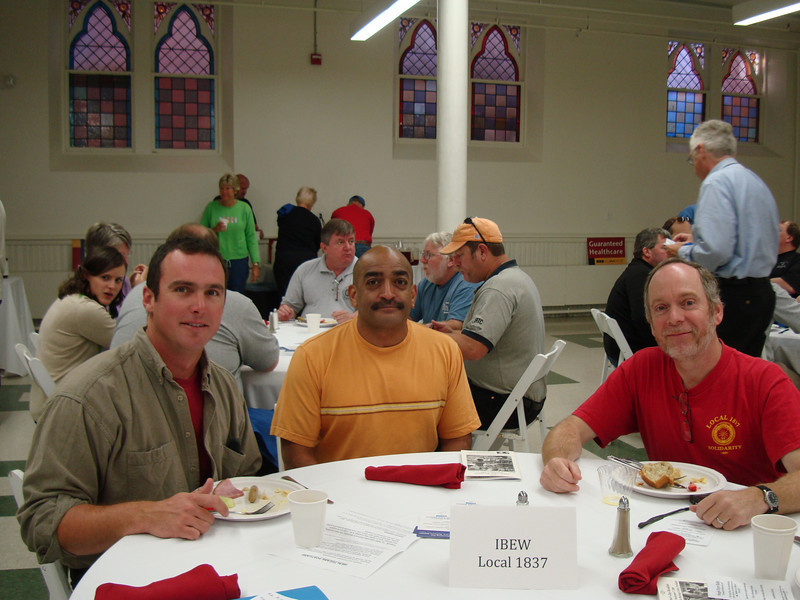 Left to Right:<br /> IBEW 1837 members Sam Godin, Carlos Morales, Matt Beck