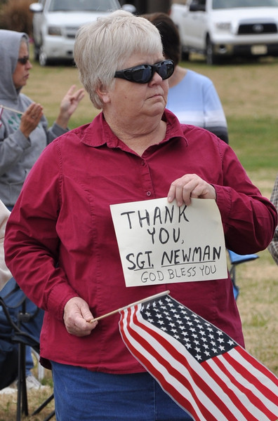 Evelyn Morehead, a teacher at Crest High School thanks Sgt. Newman on last time