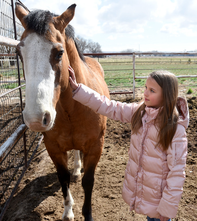. Megan Harris,10, checks in with Ben, her favorite horse,   on her birthday. The organization, Happiness Through Horses, helps kids gain confidence by working with horses at Rockin Moon Ranch near Ft. Lupton.  Cliff Grassmick / Staff Photographer/ March 27, 2018