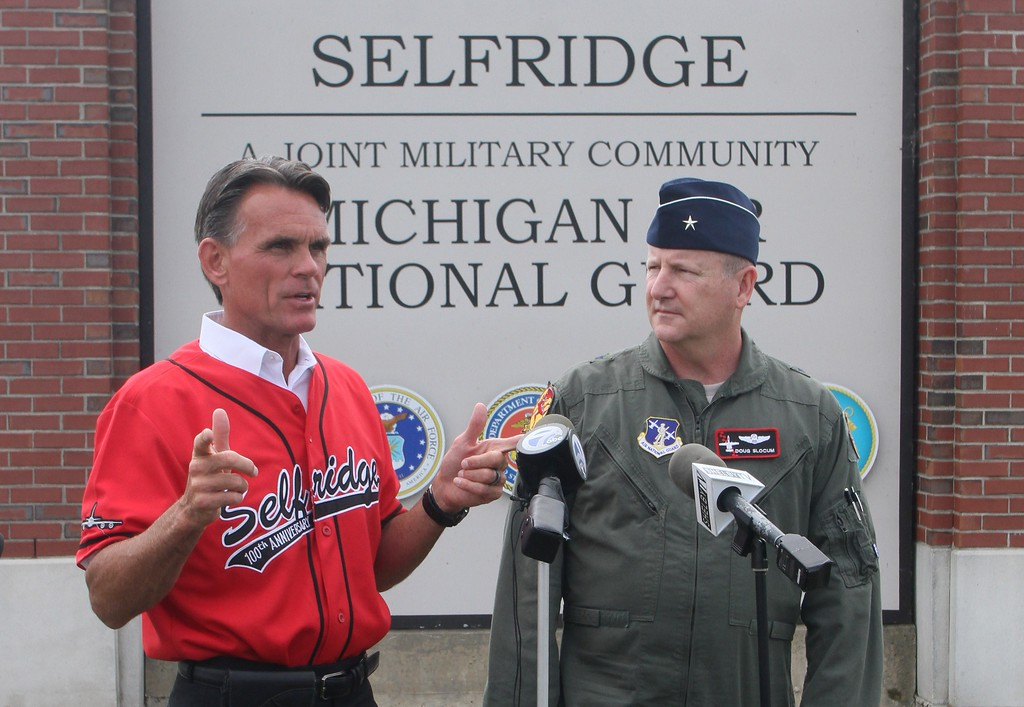 . Macomb County Executive Mark Hackel and Brig. Gen. John D. Slocum at the entrance to Selfridge, which is one of several bases being considered for the F-35 fighter jet, which features the latest in aviation technology