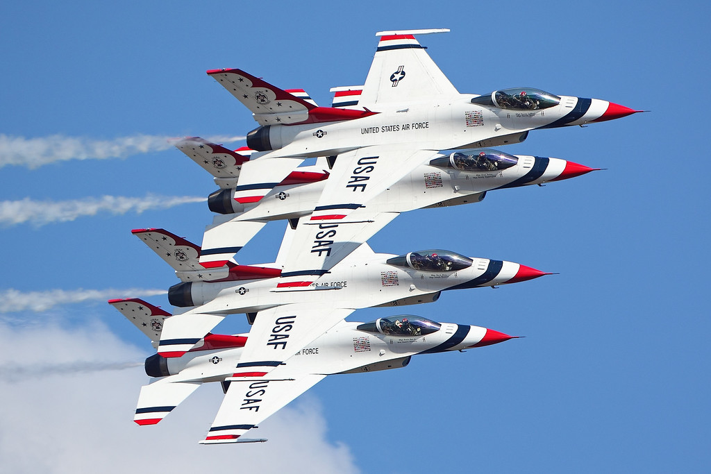. Headlining the 2017 Selfridge Open House and Air Show will be the Thunderbirds, shown here doing a maneuver in the air.