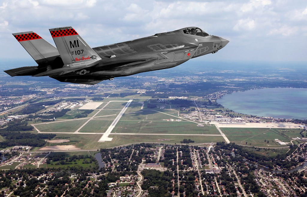 . An illustration by SANG showing the F-35 flying over Selfridge.