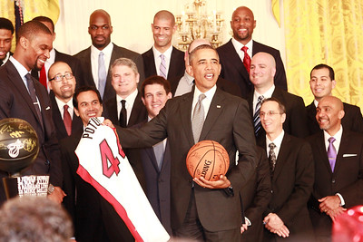 POTUS jersey presented to Barack Obama by the 2013 NBA Miami Heat.