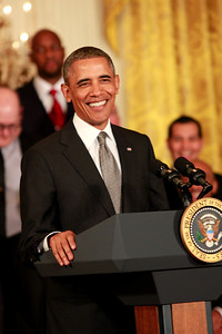 President Obama joking with the NBA 2013 Champs Miami Heat at the White House in Washington, DC.