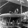 Ferry hull ready for launching; flag affixed; January 1927
