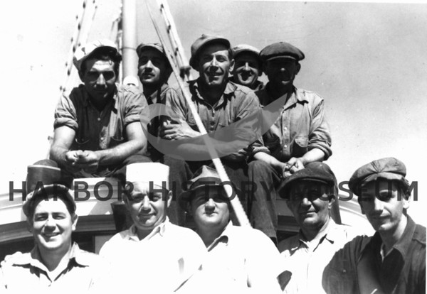 "Crew on ""Invader"" owned by Ancich on Pacific Ocean."