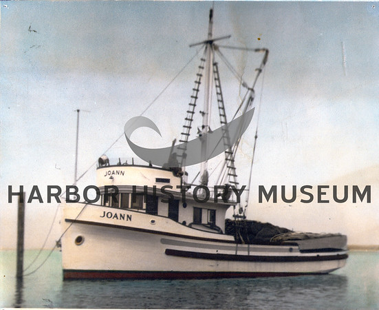 """""""Joann"""" built by George Peterson Boat Co., Tacoma for Marco Malich in 1947<br /> Marco Malich on windbreak<br /> Powered by 671 Jimmy<br /> Later owned by Nick Tarabochia<br /> Currently in Friday Harbor, WA 1996<br /> Updated with a reel"""