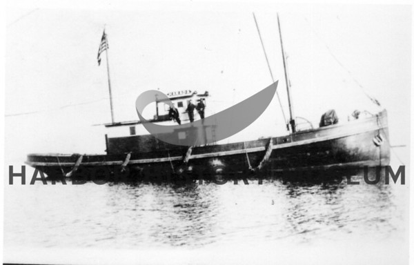 """Norada"" owned by Jack Reid - at anchor<br /> Bult by James A. Reid Shipyard in Tacoma 1919 for James A. Reid.<br /> Named changed to ""La Conte""<br /> powered by Atlas Imperial Diesel; length 78'<br /> Located in Wrangell, Alaska - 1993"