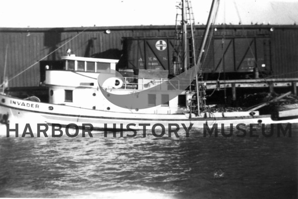 """""""Invader"""" built inl 1938 by Petrich of Tacoma for Joe, John and father Ancich.<br /> Skippered by Pete Skarponi with ten crew<br /> Sold to AK<br /> Purse seiner fished sardines, herring, salmon.<br /> Cabins all on deck - hold only below<br /> Diesel engine"""