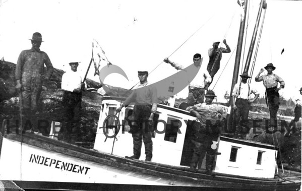 """Independent"" built at Martinolich Dockton, Wa 1911 for Mitchell Skansie; sold in 1912<br /> Powered by 40 HP Frisco Standard<br /> Lost; ran aground, broke up near Dry Bay, AK 6/29/1920<br /> Mike Katich purchased in 1911.<br /> Not a Gig Harbor boat."