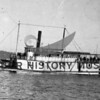 "The ""Tyconda"" owned by the Hunt Bros and later by the Lorenz brothers, Ed and Otto of Rosedale.  The ""Tyconda"" was built very low to the water.  She carried feed and hay on lower deck;, grain piled on the bow; passengers on stern.  The engine room was located in middle.  Steamboats carried a lot of wood.  She carried horses and cows when needed.  The ""Tyconda"" went to Tacoma and Henderson Bay; Joe's Bay, Minter, etc.  She was finally sold and went to Alaska where she burned to the waterline.  From Ed Goldman."