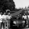 Gig Harbor-First Patrol Car, Ford V-8 Panel  1948<br /> Left to right: Mayor Harold H. Ryan, Councilman Antone Stanich, Judge H.R. Thurston, Marshal C. M. Jones, Councilman Keith Uddenberg and Fred Perkins
