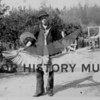 Oscar Samuelson with a mud crane, shot at the Cromwell homestead.  9/26/1915.  Source: Mrs. C.F. McCormick.